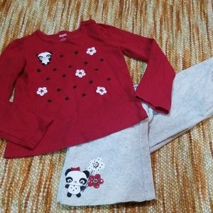 Girls 8 10 gymboree panda outfit pants shirt set